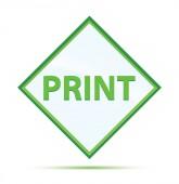 Tisk moderního abstraktního zeleného kosočtverečého tlačítka