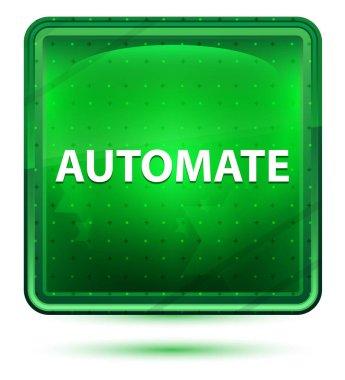 Automate Neon Light Green Square Button