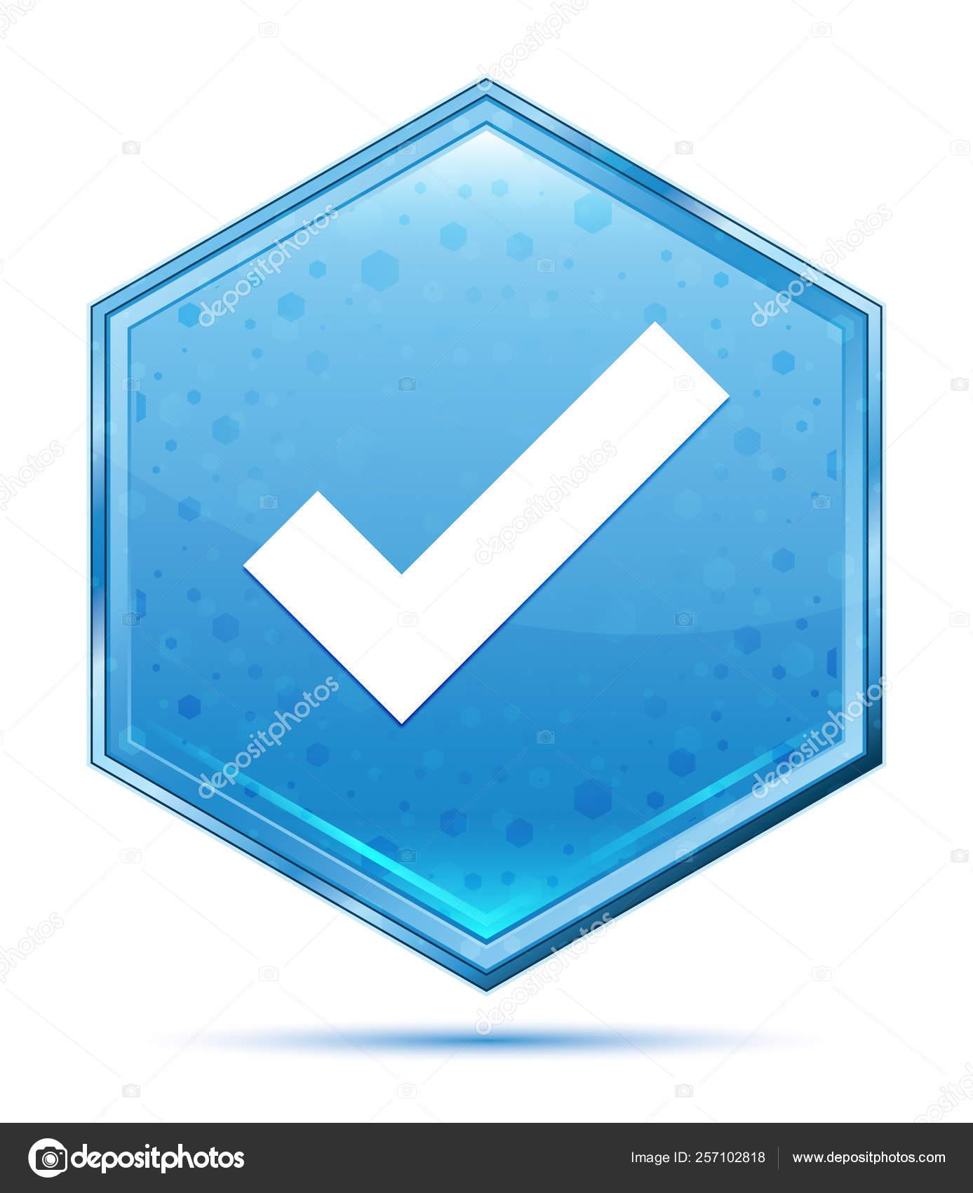 Tick Mark Icon Crystal Blue Hexagon Button Foto De Stock
