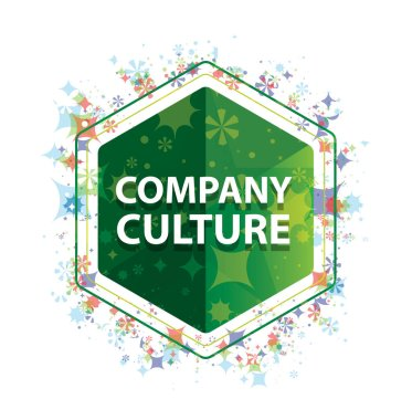 Company Culture floral plants pattern green hexagon button