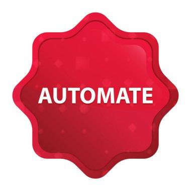 Automate misty rose red starburst sticker button