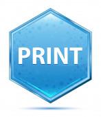 Tlačítko Print-modrý šestiúhelník