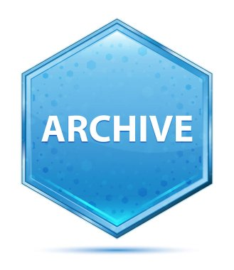 Archive crystal blue hexagon button