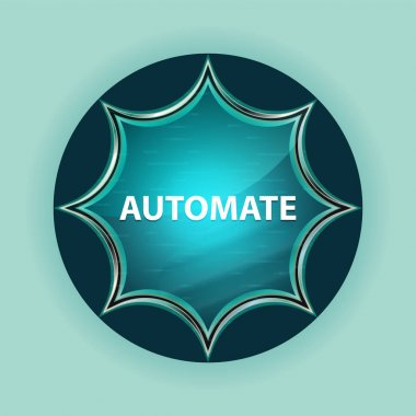 Automate magical glassy sunburst blue button sky blue background
