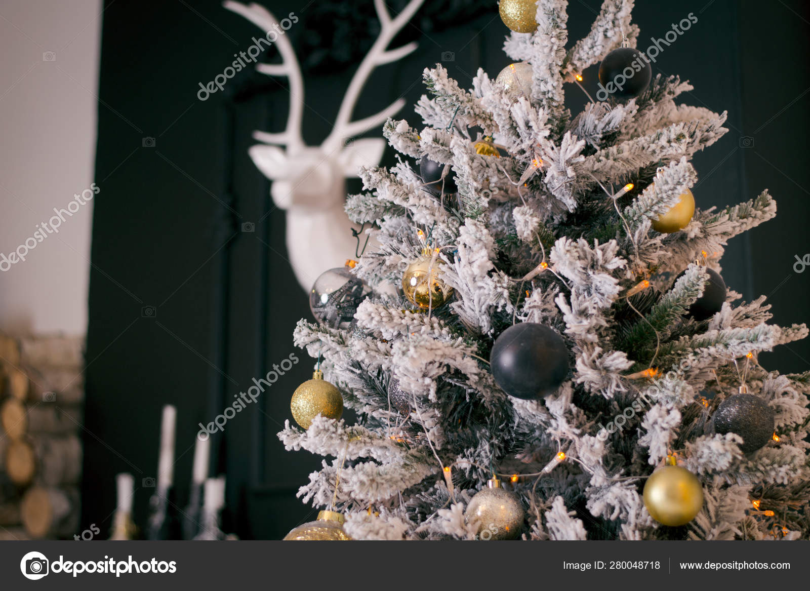 Dark Green Christmas Tree With White Artificial Snow On It Indoors Gothic Christmas Tree With Gold