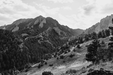 Foothills and Rocky Mountains in black and  white at NCAR Trail head, National Center For Atmospheric Research, in Boulder, Colorado