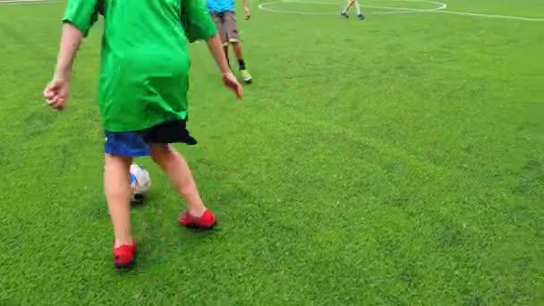 Na fotbalovém hřišti hrají dětské fotbalové hřiště, děti i dospělí