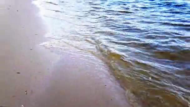 Malé vlny omyjí říční břeh v světle hnědém písku za slunečného dne.