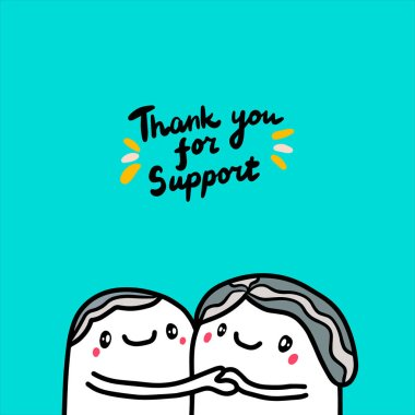Thank you for support hand drawn vector illustration with two old man together lettering grey hair