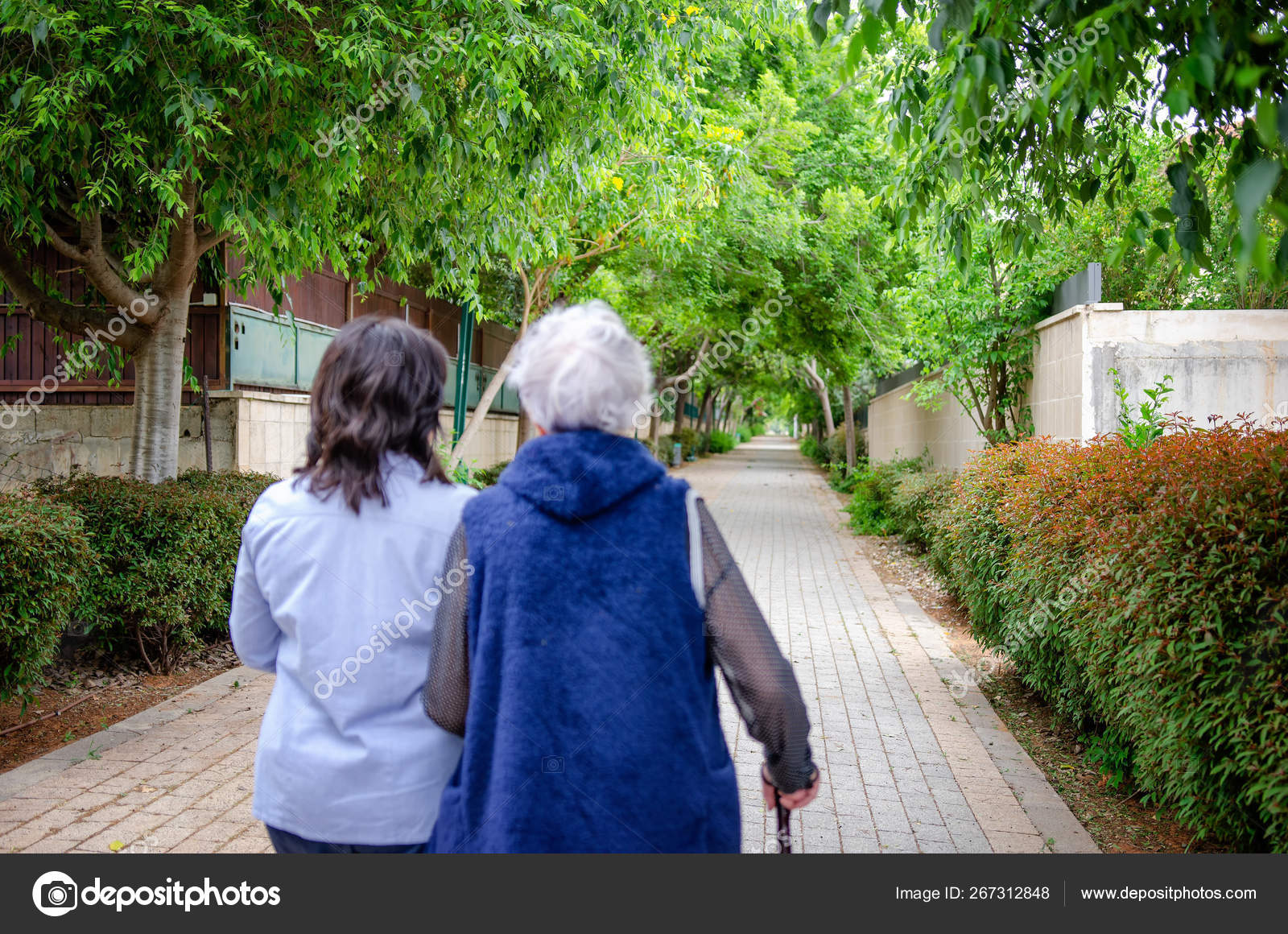 Female volunteer walks with a senior adult woman in a green alley