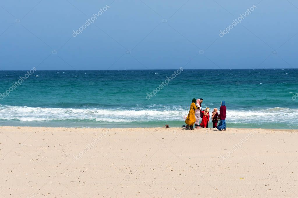 Women and Girls on the beach of Souse, Tunisia.