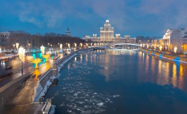 New Year festival decorations on street with river in Moscow, Russia