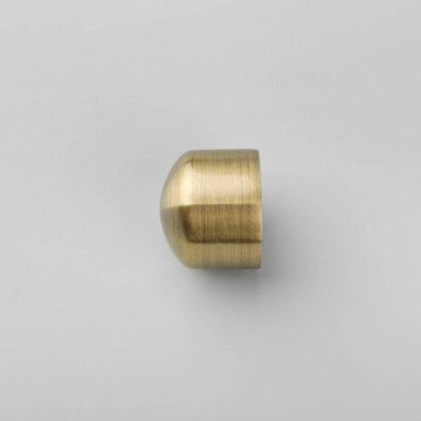 Modern metal ending for curtain pole on grey background