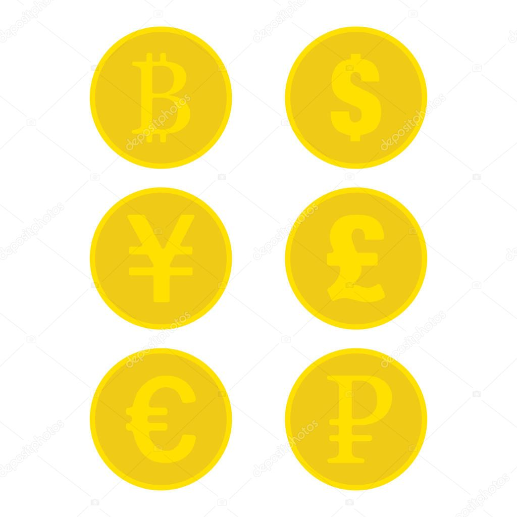 ✓ Set of golden coins bitcoin dollar uang pound euro ruble golden money  yellow coin signs of currency flat design EPS 10 premium vector in Adobe  Illustrator ai ( .ai ) format,