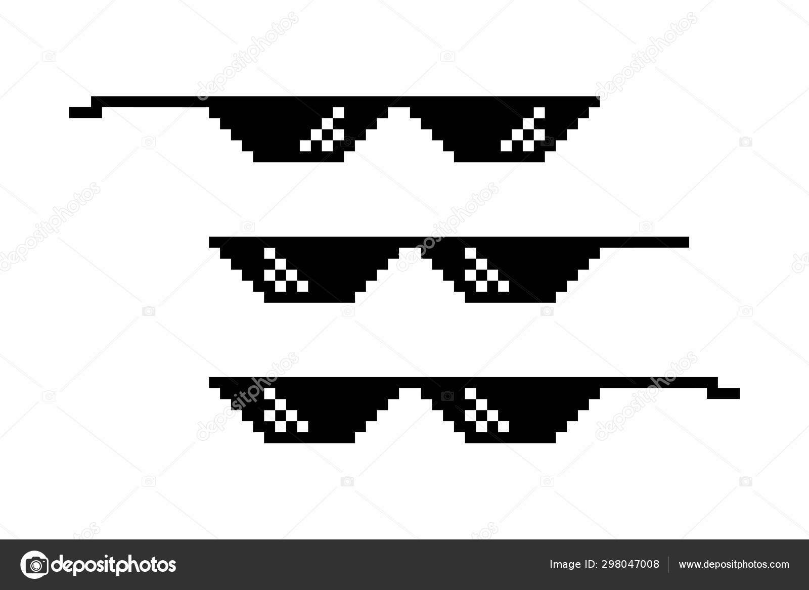 Pixel Glasses Isolated Thug Life Style Meme Symbol Design