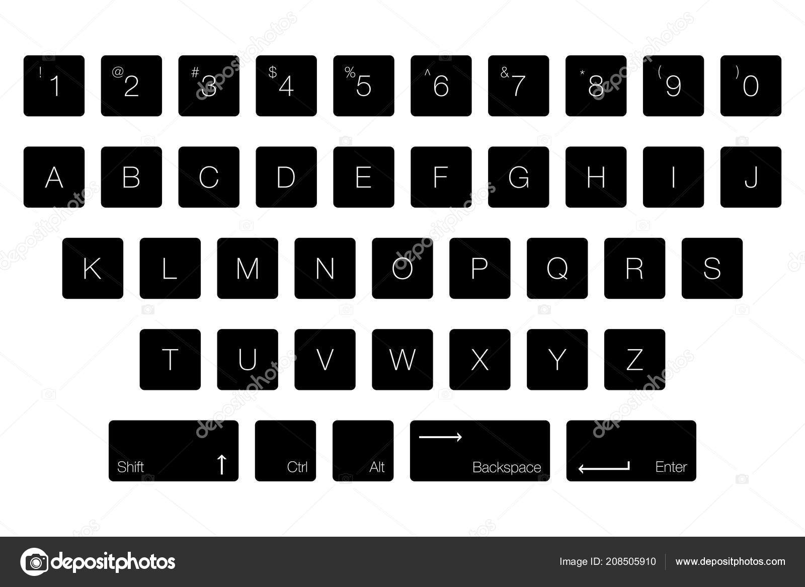 Vector Keyboard Computer Letter Keys Isolated Black Buttons