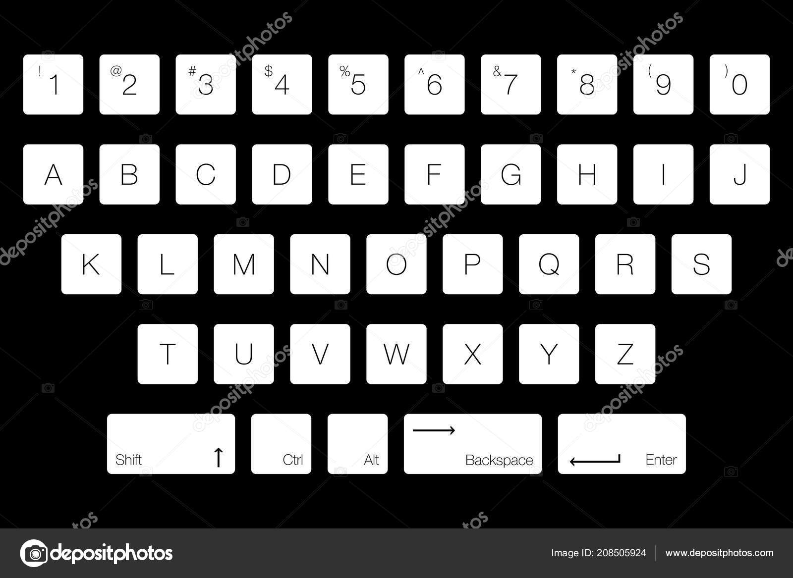 Vector Keyboard Computer Letter Keys Isolated White Buttons