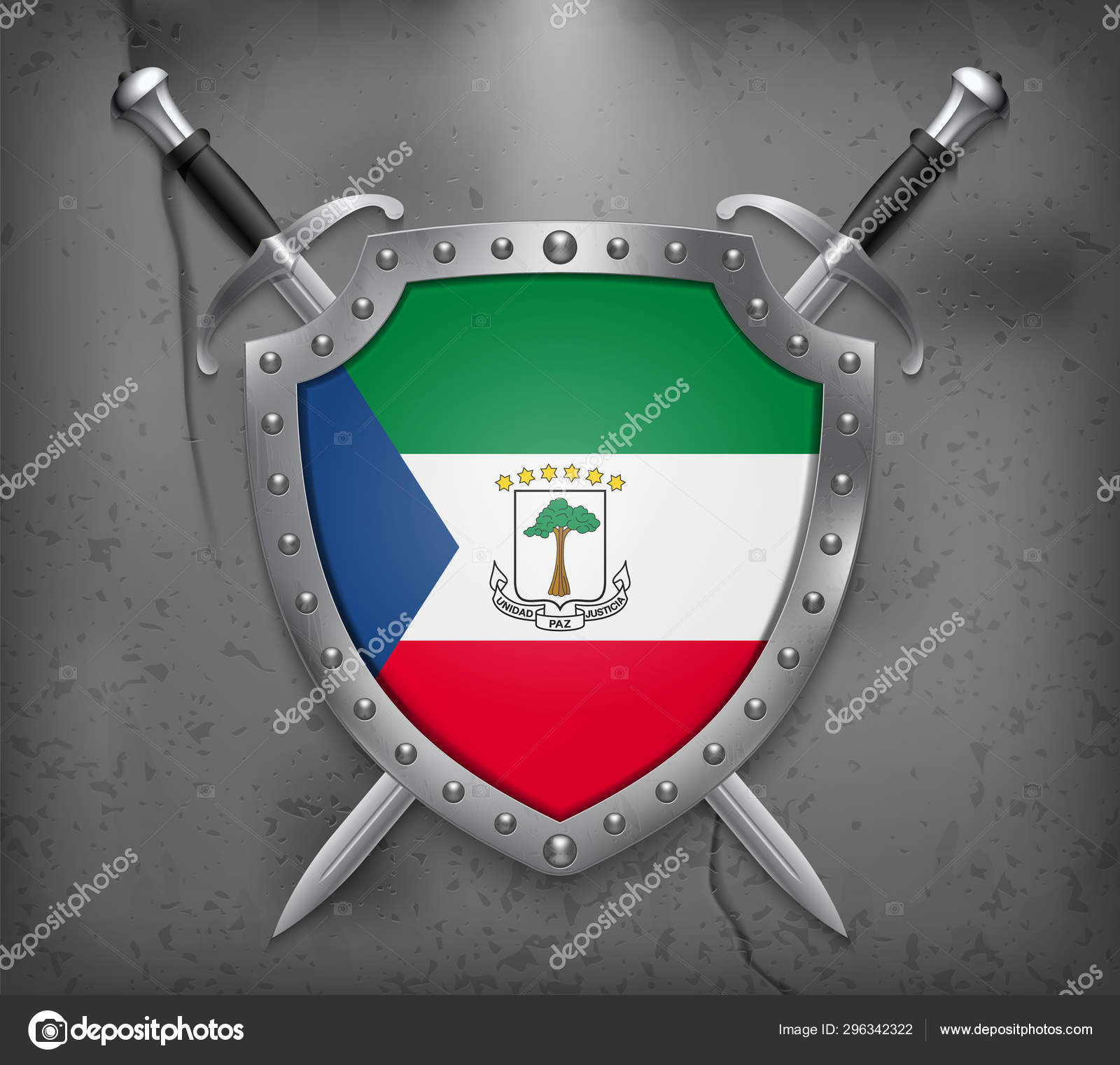 Flag Of Equatorial Guinea The Shield With National Flag