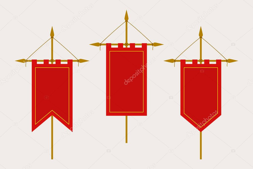 Medieval Pennant Hanging On Flagpole Set Of Blank Flags Red Template Banner And Poster Vector Mockup Premium Vector In Adobe Illustrator Ai Ai Format Encapsulated Postscript Eps Eps Format