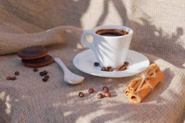 Fragrant coffee in the morning sun.