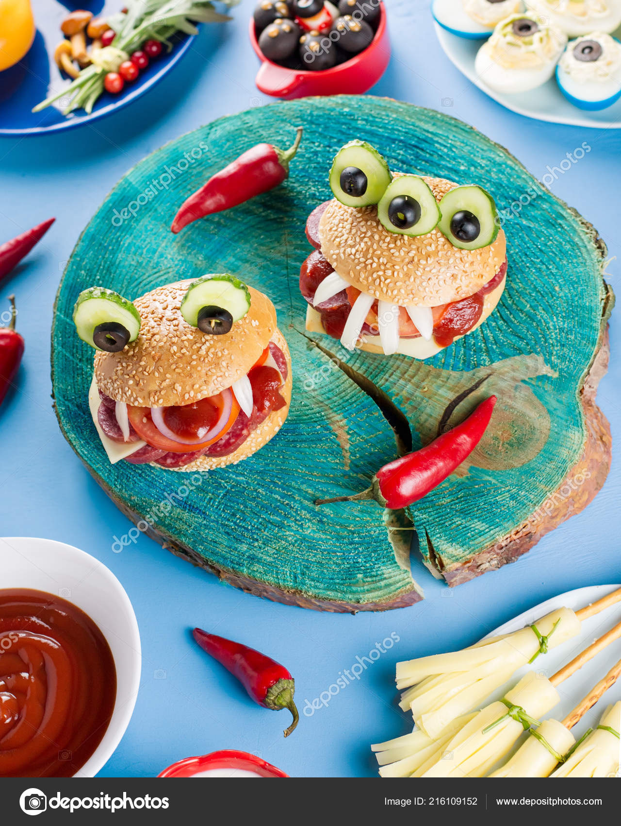 Halloween Hamburgers.Halloween Party Food Stuffed Peppers With Scary Faces