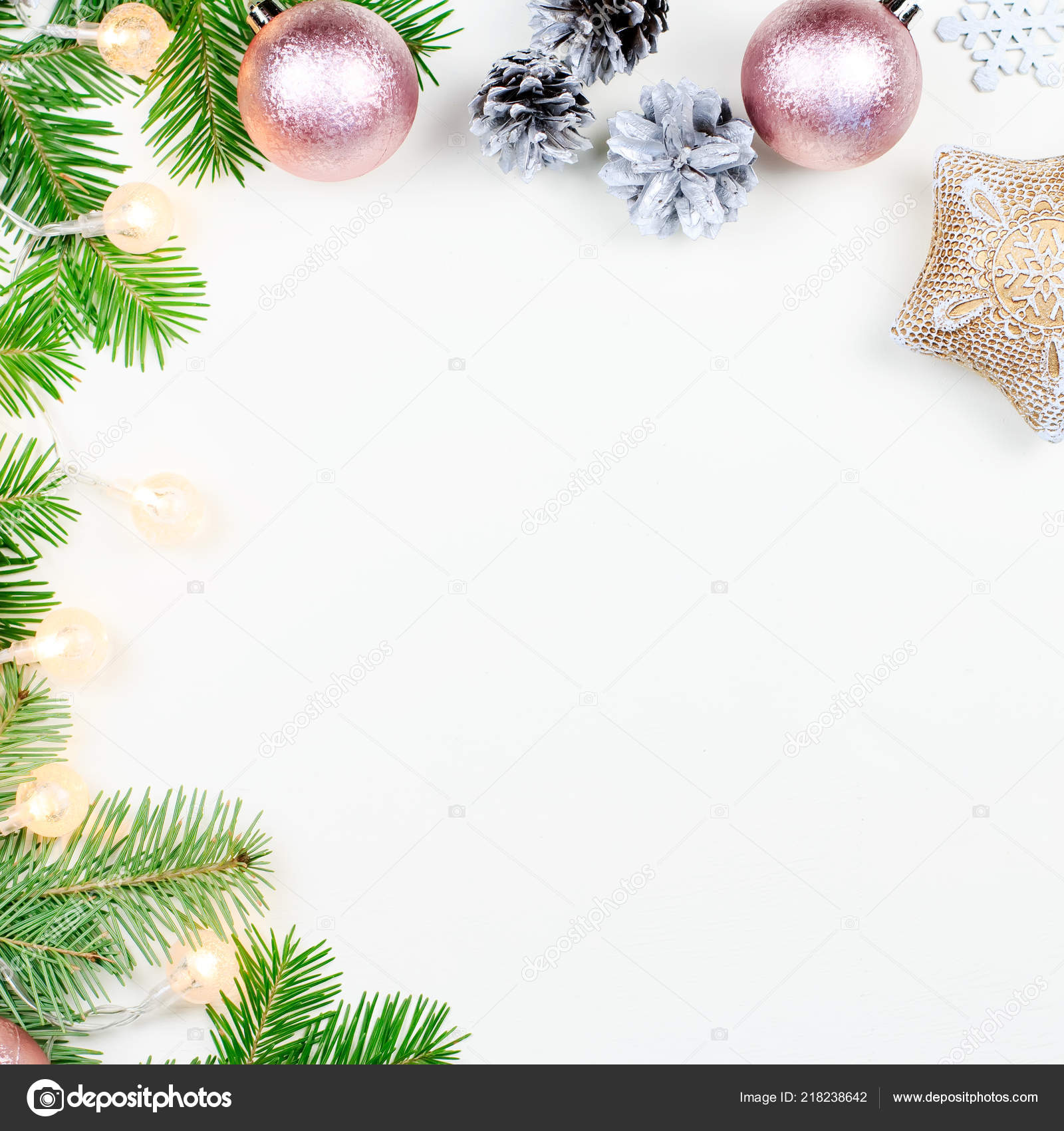 Christmas Background Fir Tree Branches Pink Beige Decorations Silver