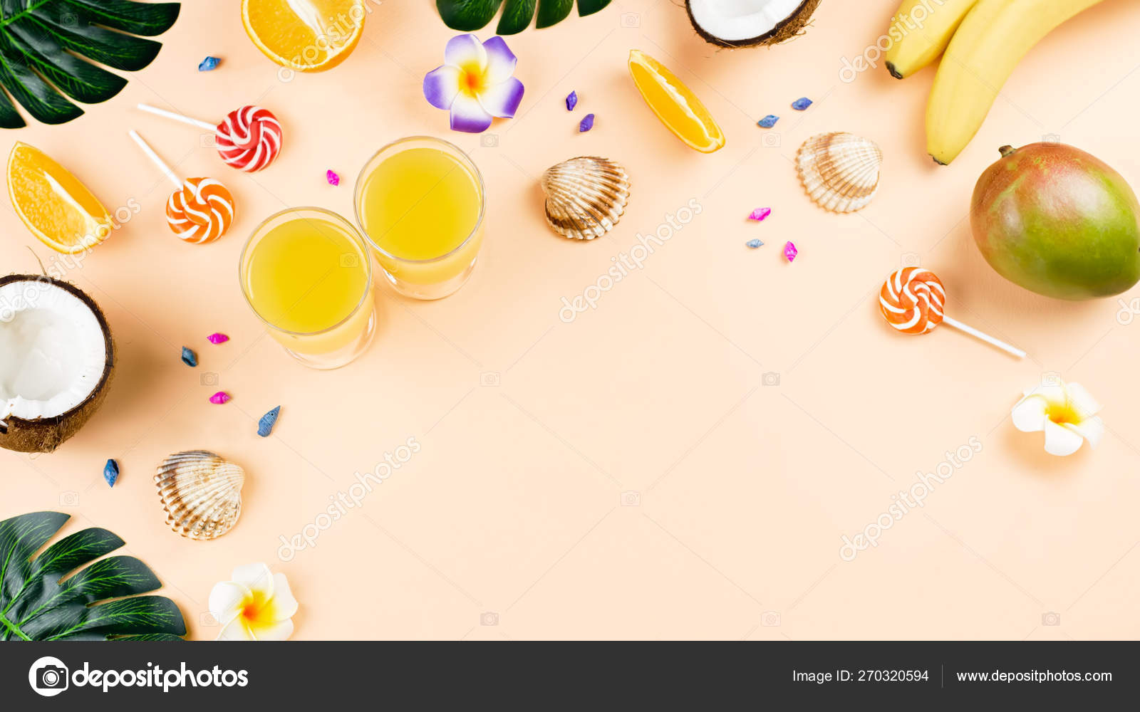 Summer tropical fruits frame on coral color background — Stock Photo