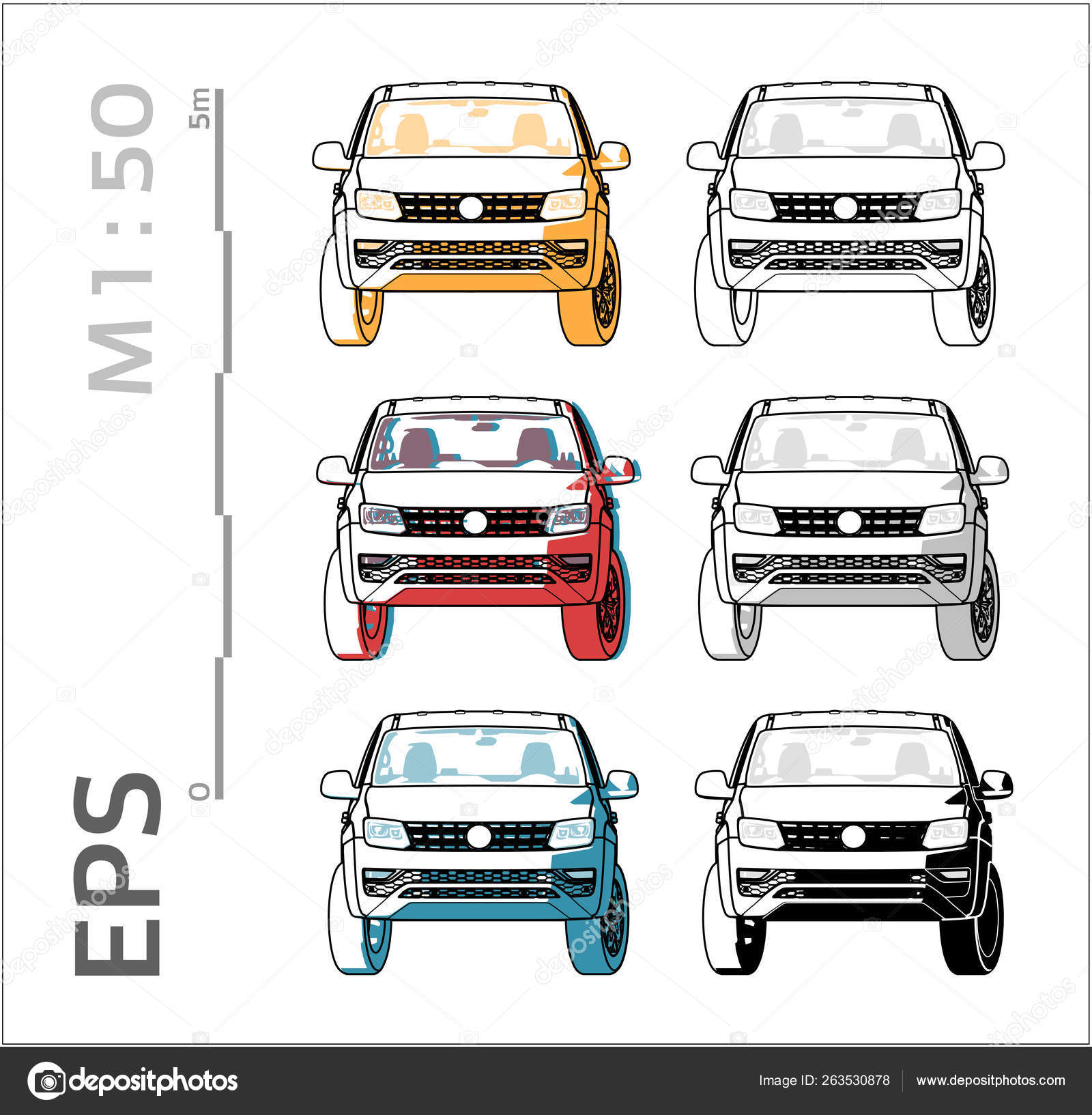Pickup Cuv Car Vector Icons Set For Architectural Drawing And