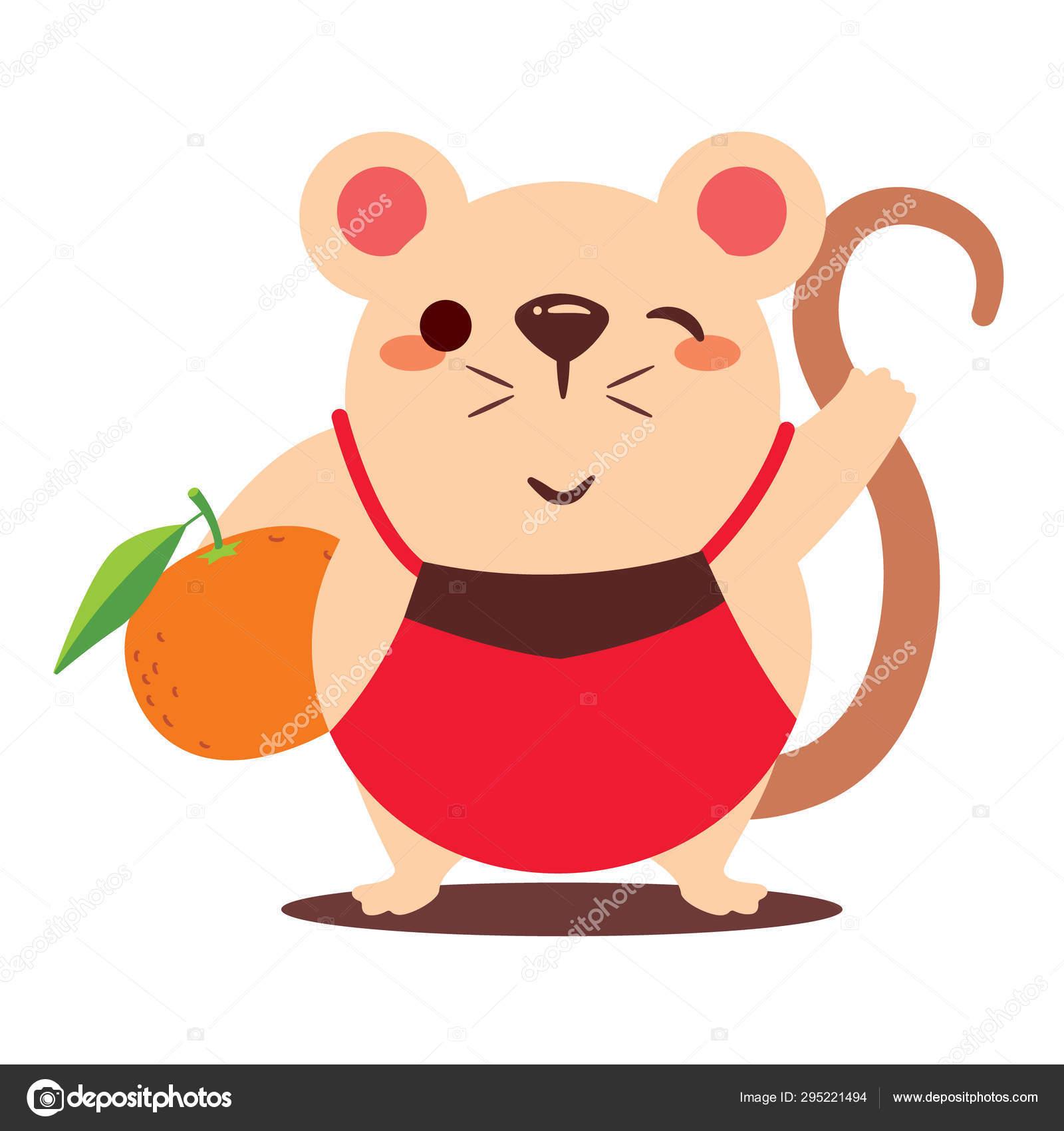 Rato Bonito Dos Desenhos Animados Que Carreg Laranja Grande