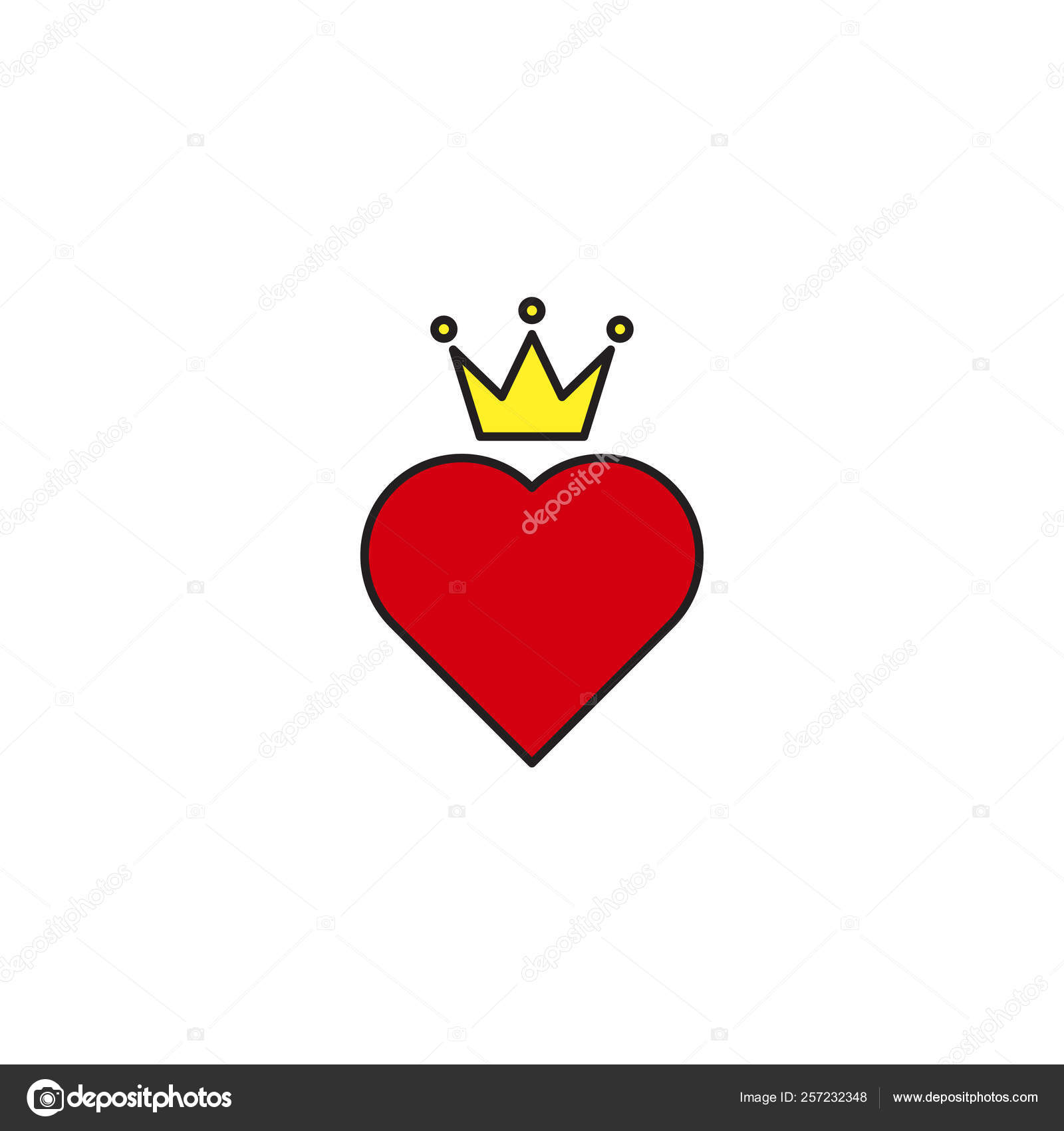 Heart crown vector icon trendy flat style design isolated — Stock
