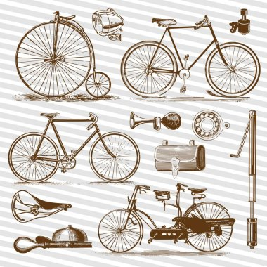 Bicycle and accessories vintage in vector illustrations lot