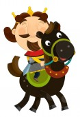 funny king riding horse - isolated - illustration for children