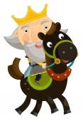 legrační král na koni - izolované - ilustrace pro děti