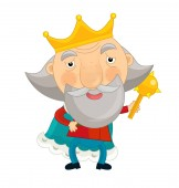 Fotografie funny king holding  mace - isolated - illustration for children