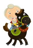 kreslený starý král na koni