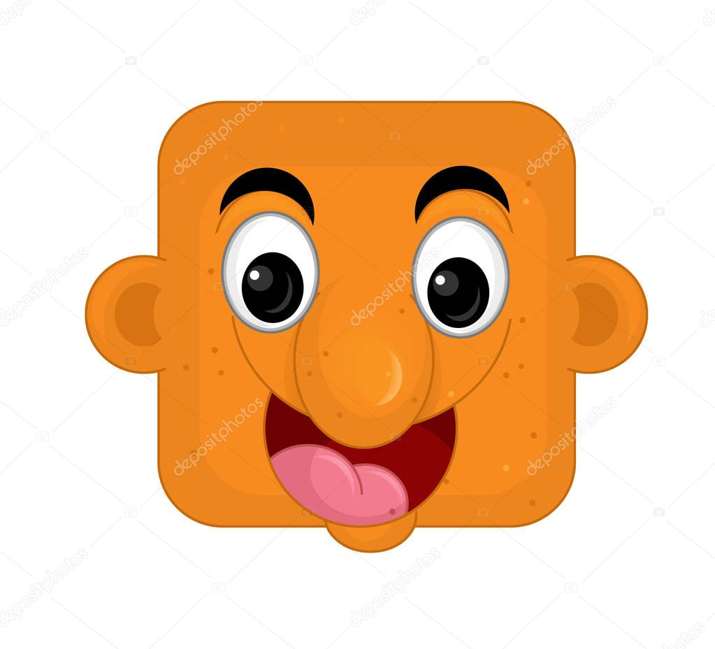 cartoon scene with face expression on white background
