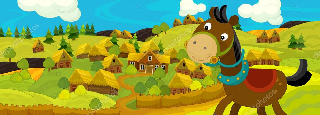 Happy and colorful traditional illustration for children -  scene for different fairy tales. Cartoon horse