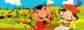 kreslený scény s šlechtic poblíž farmářská vesnice - ilustrace pro děti