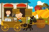 Fotografia scena dellazienda agricola del fumetto con padre e figlio
