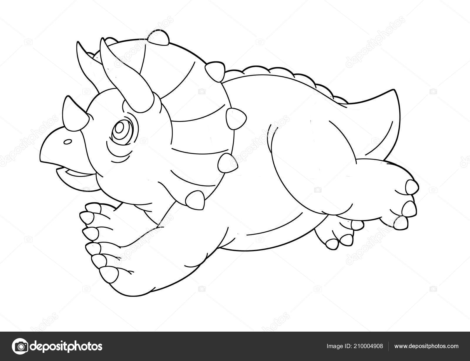 Cartoon Happy Funny Dinosaur Triceratops Coloring Page Stock Photo
