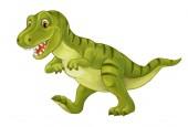 Fotografia Tirannosauro dinosauro felice e divertente del fumetto isolato su priorità bassa bianca