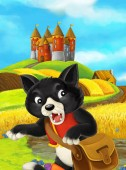 Photo cat cartoon character with bag on field with castle on background