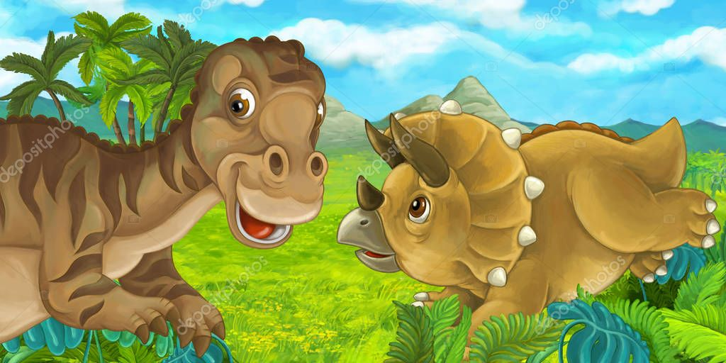 cartoon scene with different dinosaurs having fun together - mayasauria and triceratops - illustration for children