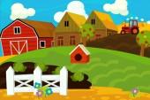 Kreslená farma scény - pro různé použití - ilustrace pro děti