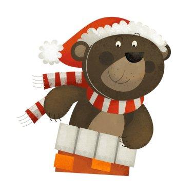 Cartoon scene with bear santa claus on white background - illustration for children stock vector