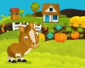 Fotografia cartoon happy and funny farm scene with happy horse - illustration for children