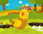 cartoon happy and funny farm scene with happy rooster chicken or