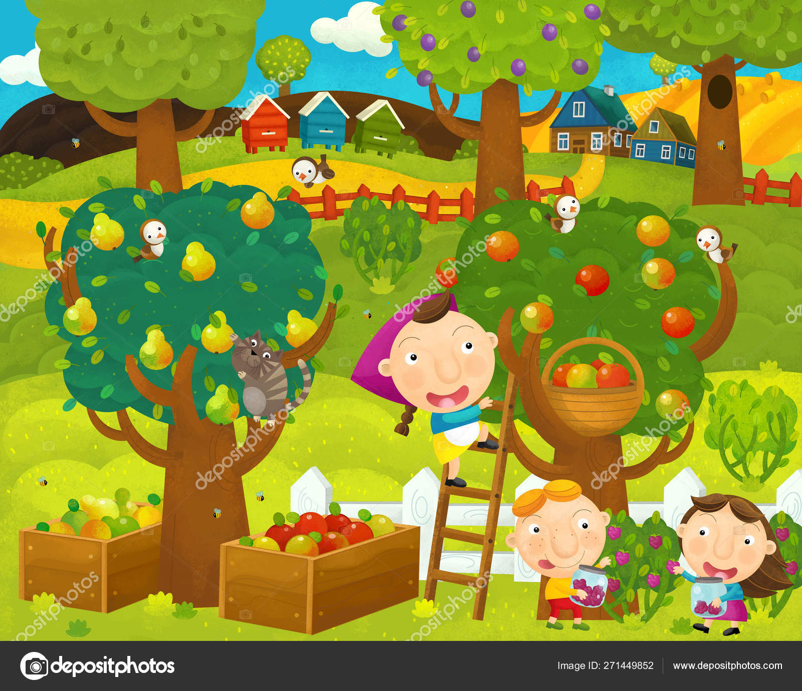 Cartoon Happy And Funny Farm Scene With Fruit Orchard Apple Trees And Pear Trees Illustration For Children Stock Photo C Agaes8080 271449852 But with the vast variety of trees available out there. cartoon happy and funny farm scene with fruit orchard apple trees and pear trees illustration for children stock photo c agaes8080 271449852