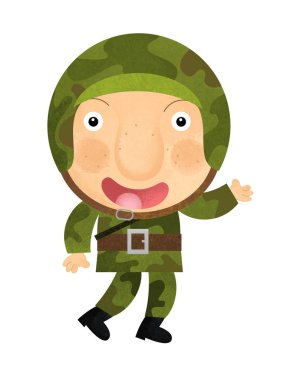 Cartoon character - soldier isolated on white background illustration for children stock vector