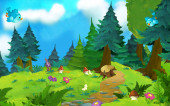cartoon scene with meadow and space for text - illustration for children